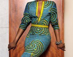 African Print Dashiki dress Blue dashiki maxi dress by FashAfrique