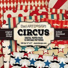 Circus Vintage Patterns Digital Paper Pack 01 by DADARTDESIGN |