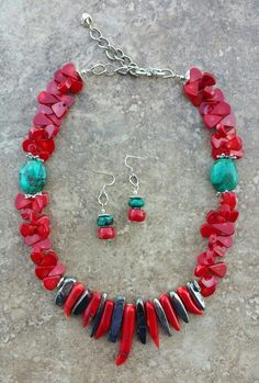 Beautiful Coral,Turquoise, and Electroplated Agate $75.00 @ gimstonz.com.  Love this piece wear it dressed up with a crisp white shirt and dress pants