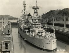 https://flic.kr/p/oxfokm | 48-22 3660(1) | The USS Houston, with FDR aboard, passes through locks at the Panama Canal, July 11, 1934. Franklin D. Roosevelt was the first sitting U.S. President to traverse the Canal.