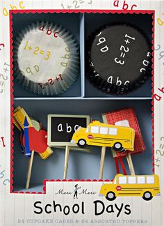 A school themed cupcake kit complete with school bus toppers, blackboard and notebook and a numerical style pattern on the bases. Size: Regular bake cup size -