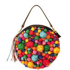 Sparkly Rainbow Pom Pom Round Handbag