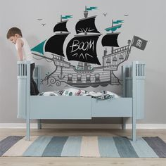 kids wall decals Pirate Ship with chalkboard blackboard wall stickers creativity zones by E-Glue!
