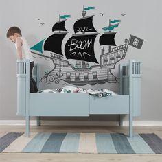 kids wall decals Pirate Ship with chalkboard blackboard wall stickers creativity zones by E-Glue!