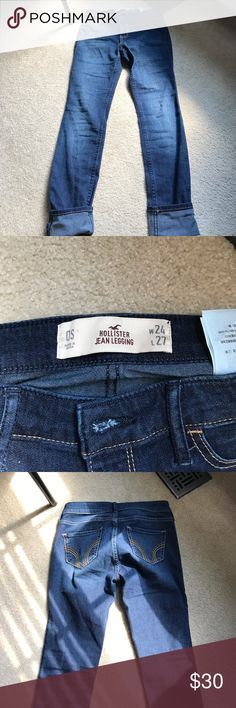 Hollister Jeggings Dark wash, no rip detailing jean/jeggings from Hollister. Is brand new but no tags. Bought this year. Never worn. The length is 27 inches. Width is 24 inches. I don't do trades. Hollister Jeans Skinny