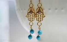 Gold Hamsa earrings #Hamsa and turquoise earrings by VIPCreations #yogainspired