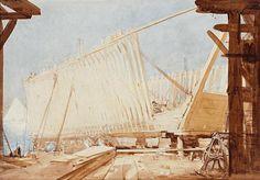Arthur Ernest Streeton (1867-1943) Australia: Boat Building, Cairo, 1898