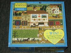 "1000 Pieces -- ""Amish Neighbors"" -- Art by Charles Wysocki (Charles Wysocki's Americana); Puzzle by Milton Bradley (04679-G36); Copyright 2003; Completed size: 22-9/32"" x 25-9/16""; Purchased for $1.99 at TAG'S in American Fork on 15 Dec 2014"