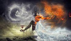 HD wallpaper: religious wallpaper, digital art, elements, four elements, pyramid 2k Wallpaper, Original Wallpaper, Office Wallpaper, Ancient Aliens, Fantasy Kunst, Fantasy Art, Dark Fantasy, Elf Draw, Cabala Judaica