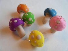 Tiny Rainbow Mushroom Charms Pink Purple Blue Lime by JbellsGems, $3.00