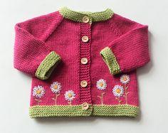 Fleur cardigan fleur rose pull cardigan bébé fille cardigan pull en tricot merino pull cardigan en laine fait à la commande