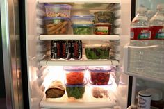Food in pots in fridge