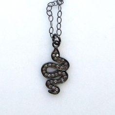 pavé diamond and oxidized sterling snake charm with by KKSparkles