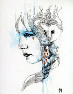 'Totem by Patricia Ariel Clock Art, Watercolor Portraits, Cool Paintings, Face Art, Beautiful Artwork, Spirit Animal, Pet Portraits, Art Inspo, Vector Art
