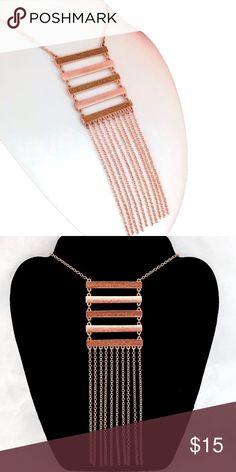 """Rose Gold Ladder Bars & Fringe Necklace Rose Gold Ladder Bars & Fringe Necklace - hangs approx 22"""" L Jewelry Necklaces"""