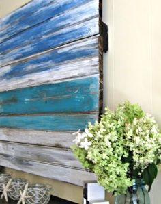Painted Old Wood Ocean Wall Art for a Sea Inspired Summer Mantle Pallet Painting, Pallet Art, Painting On Wood, Wood Artwork, Pallet Ideas, Pallet Projects, Diy Wall Art, Diy Art, Old Wood