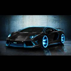 Lamborghini Aventador Modified Tron Legacy Light Blue