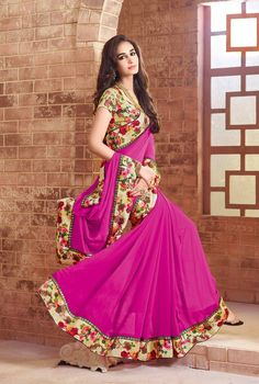 Magenta Faux Georgette Party Wear Saree 65769