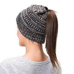 Messy Bun Knitted Beanie Hat. Stylish PonytailPonytail ... 7f73cea7b118