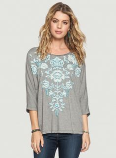 Johnny Was JWLA Jacinta Buttonback Dolman Top in Voltage #embroidery #embroidered #blue #grey #boho #bohemian #casual #shirt #tee #fashion
