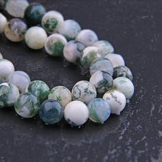 """Natural Green Tree Agate Necklace 8mm Beads 23/"""" Healing Hand Knotted Spot Agate"""