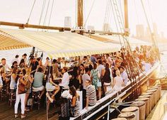 Hop aboard one of these floating options for lobster rolls, cocktails and killer views in NYC. Boat Restaurant, Ny Life, Nyc Restaurants, Jet Set, Boats, Summertime, Things To Do, Places To Go, New York