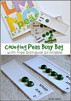 Counting Peas busy bag to accompany the book LMNO Peas {with free bilingual printable} from And Next Comes L