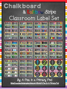 "Get ready to for Back to School and organize your class with ease! My ""Chalkboard and Rainbow Stripe"" Classroom Label set has everything you need to organize and label supplies, toys, manipulatives, book bins, book baskets, and tables!"