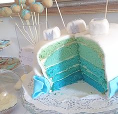 This is a recipe for a great motivational cake for the baby shower - Babyparty & Kindergeburtstag Baby Party, Baby Shower Parties, Baby Shower Cakes, Baby Boy Shower, Fondant Cakes, Cupcake Cakes, Cake Factory, Ombre Cake, Blue Cakes