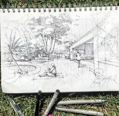 What is Landscape Architecture? Architecture Concept Diagram, Architecture Presentation Board, Architecture Drawings, Landscape Architecture, Landscape Design, Architecture Design, Sketches Arquitectura, Perspective Drawing, Perspective Room