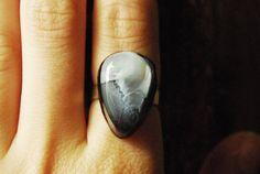 Cloud Teardrop Resin Ring  Sterling Silver  by ResinRings on Etsy