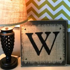 Monogram Burlap sign http://adecoratedroom.blogspot.com/