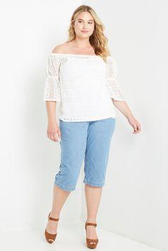 Moment Crochet Off the Shoulder Top Plus Size