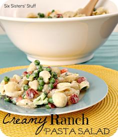 Creamy Ranch Pasta Salad- a delicious twist on a traditional salad! Perfect main dish or side dish. SixSistersStuff.com #recipes #pasta