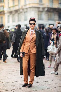 Brick suit, leopard loafers