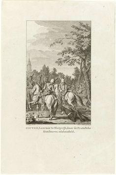 Reinier Vinkeles | Mishandeling van dominee Cluwen te Sluipwijk, Reinier Vinkeles, 1796 | Mishandeling van een patriotse dominee genaamd Cluwen door Pruisische huzaren, te Sluipwijk (nabij Goejanverwellesluis) op 19 september 1787. Twee Pruisische ruiters slepen de dominee aan touwen achter hun paarden aan naar Gouda.