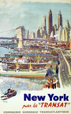 Buy online, view images and see past prices for Travel Poster New York by Transat Ships. Invaluable is the world's largest marketplace for art, antiques, and collectibles.