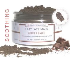 CHOCOLATE Clay Face Mask-Chocolate Mask-Cocoa Face Mask-Chocolate Face Scrub-Oatmeal Face Mask by SimplyScrubtiousShop on Etsy https://www.etsy.com/listing/271324199/chocolate-clay-face-mask-chocolate-mask