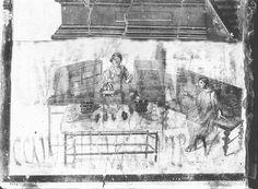 Shop sign, Fresco in Verucundus shop, Pompeii. Shoe shop.