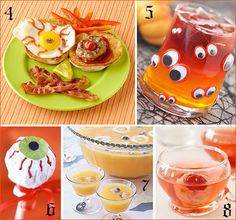 "Great Punch idea (#7)! Blueberries frozen in ice cubes make for eerie ""eyeball floaters"" in this yummy orange punch. Want to serve this to little ones? Just swap out the champagne for ginger ale."