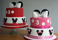 mickey and minnie birthday cake   lauralovescakes...: Minnie & Mickey Birthday Cakes Mickey Birthday Cakes, Mickey And Minnie Cake, Baby Birthday Themes, Custom Birthday Cakes, Mickey Cakes, Twin Birthday Parties, 3rd Birthday Cakes, Minnie Mouse Cake, Happy Birthday Cake Images