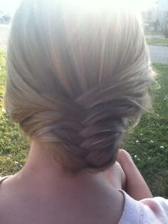 Fish tail braid- bun for short hair