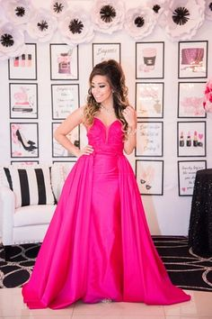 Glam bridal shower outfit idea - hot pink dress with detachable skirt {Ashley Halas Photography LLC}