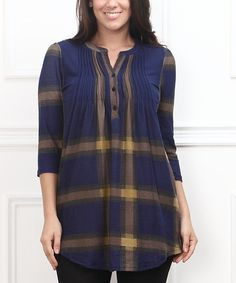 Look at this Navy Plaid Notch Neck Tunic - Plus on #zulily today!