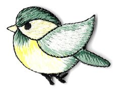 Bird - Green & Yellow - Embroidered Iron On Applique Patch - Left
