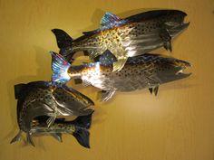 Metal Wall Art Fish trout lake rainbow brown fish metal steel wall art home decor