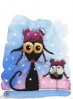 ACEO Original Watercolor Folk Art Whimsical Winter Stressie Cat Purple Hat Snow | eBay