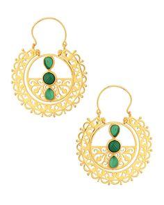 Earrings Encrusted With Green Stones   Buy Designer & Fashion Earrings Online
