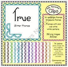 True Glitter Frames (rectangle and square) from KB Konnected Clips on TeachersNotebook.com - (56 pages) - True Glitter Frames (rectangle and square)