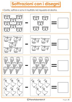 Addizioni e Sottrazioni con Disegni per Bambini | PianetaBambini.it Kindergarten Math Worksheets, Alphabet Worksheets, Preschool Math, Teaching Math, Mickey Coloring Pages, Addition And Subtraction Practice, Phonics Books, Math For Kids, English Words